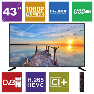 HKC 43 F6 43 inches (109 cm) LED TV (Full HD, triple tuner, DVB-T2 / T / C / S2 / S, H.265 hevc, CI +, multimedia player Via USB) [Class of energy efficiency A] [Energy Class A] 2