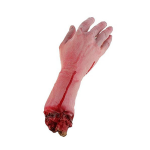 BeautyLife & # x24 C7; Realistische Latex blutig Echthaar Arm Hand Life Größe Scary Bloody Blut Körperteile für Halloween Party Indoor Outdoor Prop und Cosplay Decor